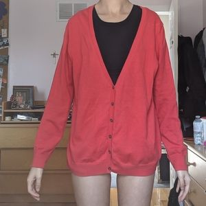 Red buttoned down cardigan